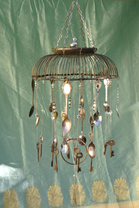 Silver basket wind chime with skeleton keys and spoons for Wind chime ideas