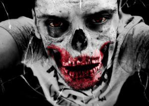 White skull with bloody teeth makeup