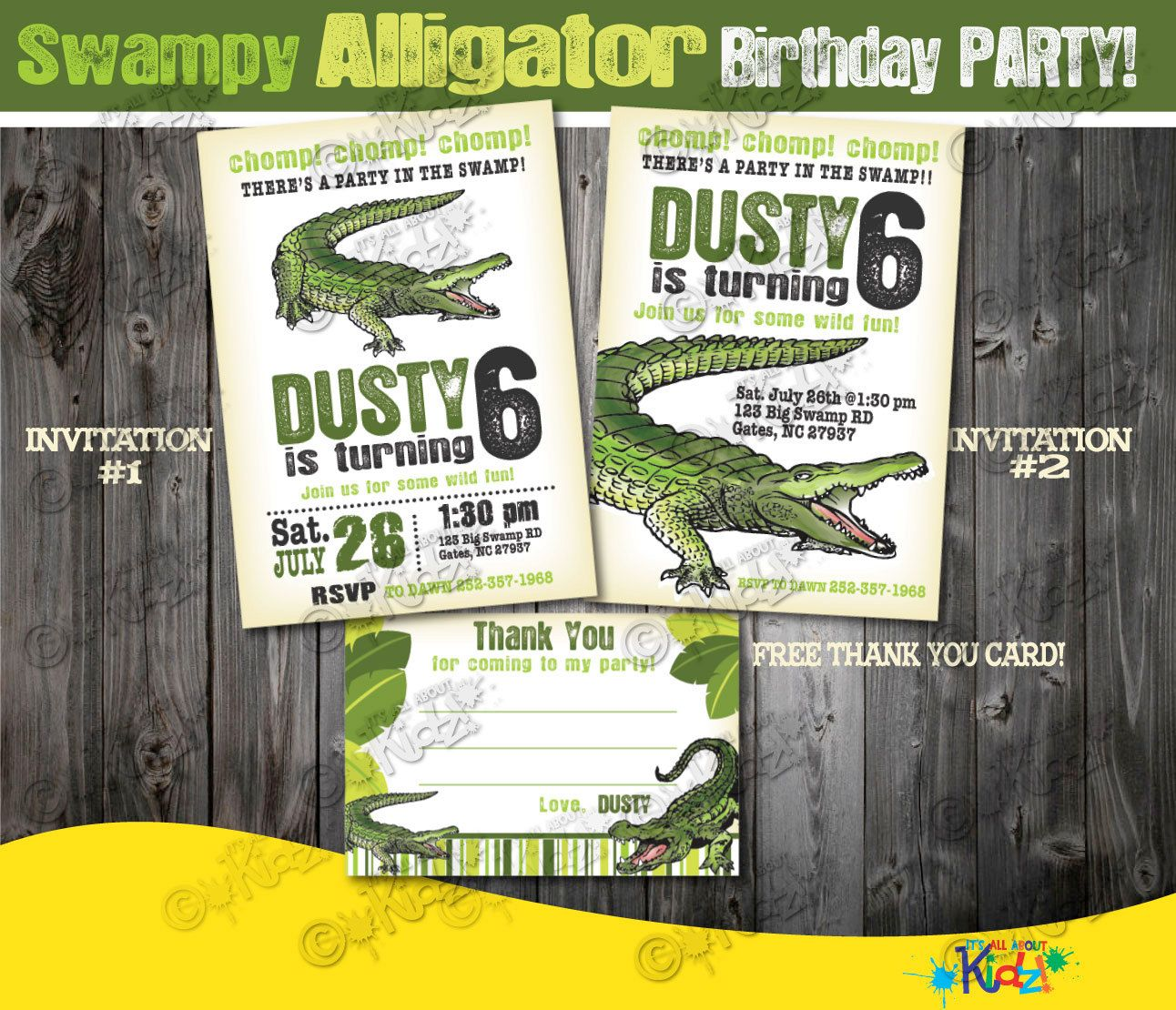 Free Thank You Card Alligator Party Invitation Birthday Invite Swamp