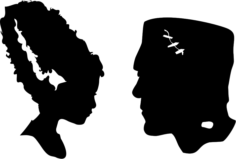 The Lady Wolf: Frankenstein And Bride Head Silhouettes