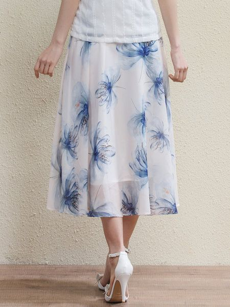 Light Blue Floral Floral-print Elegant Midi Skirt