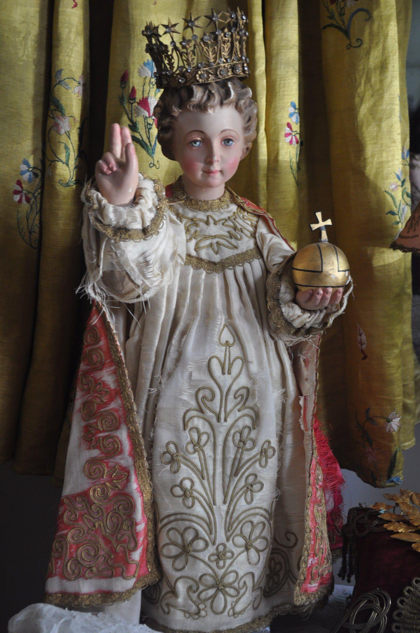 stunning antique 19th century jesus the infant of prague plaster