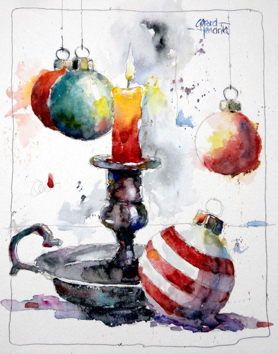 Gerard hendriks stillleben weihnachten kugel kerze for Pinterest aquarell