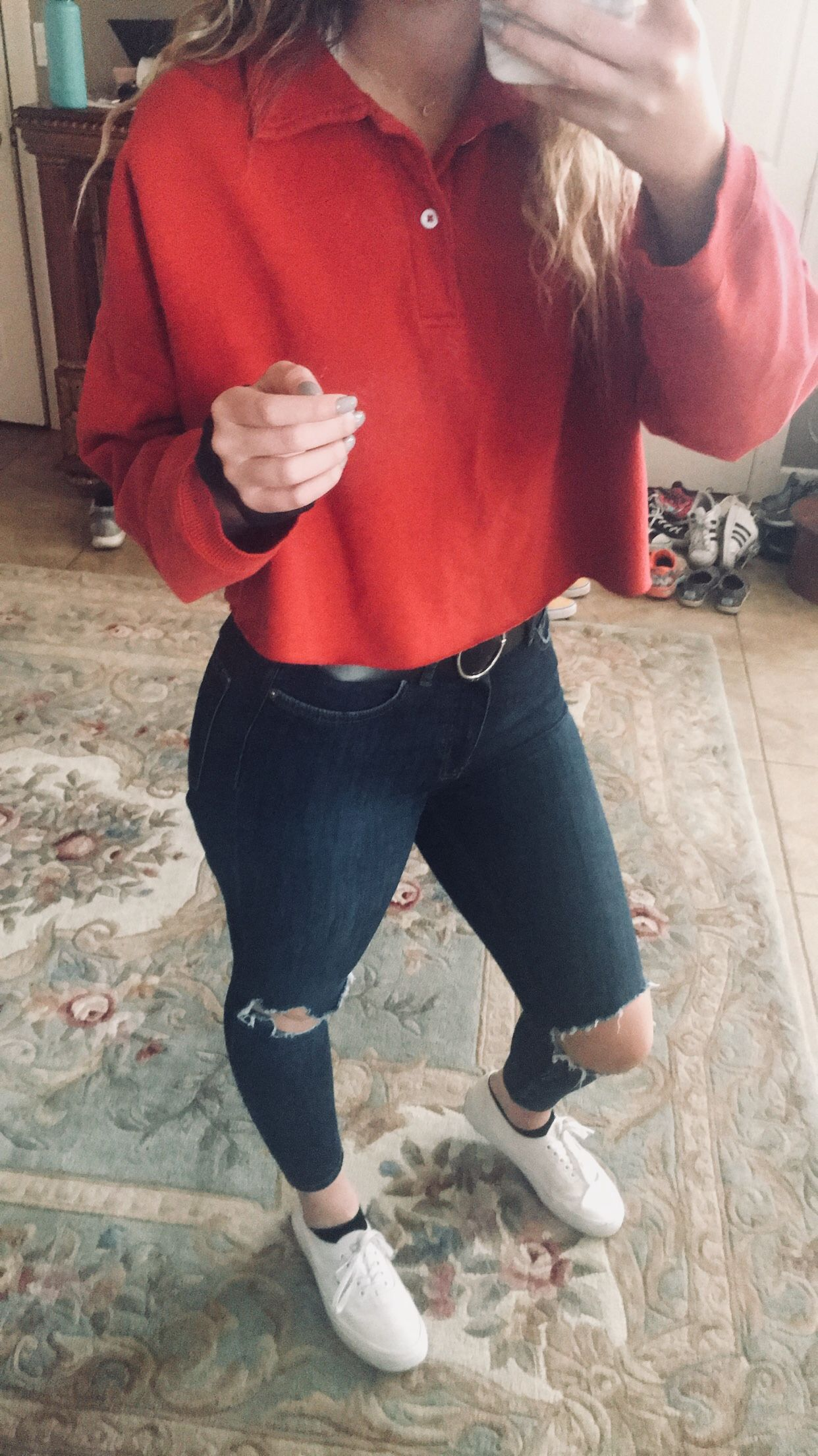 4bd87201d3 Free people ripped knee jeans -red cropped polo brandy Melville top ...