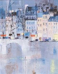 A Parisian street and canal by Comodot Ney