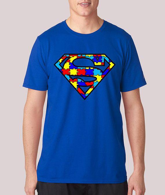 super autism man shirt autisic superhero awareness puzzle kids super hero geek mens ladies tee