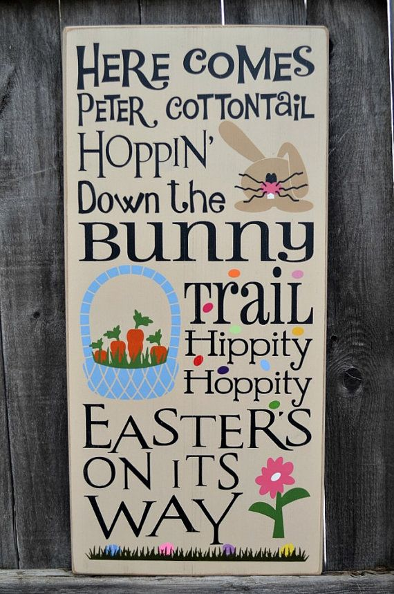 Here Comes Peter Cottontail Easter typography subway primitive wood sign gift home decor rustic distressed bunny basket by PrimitiveHodgePodge