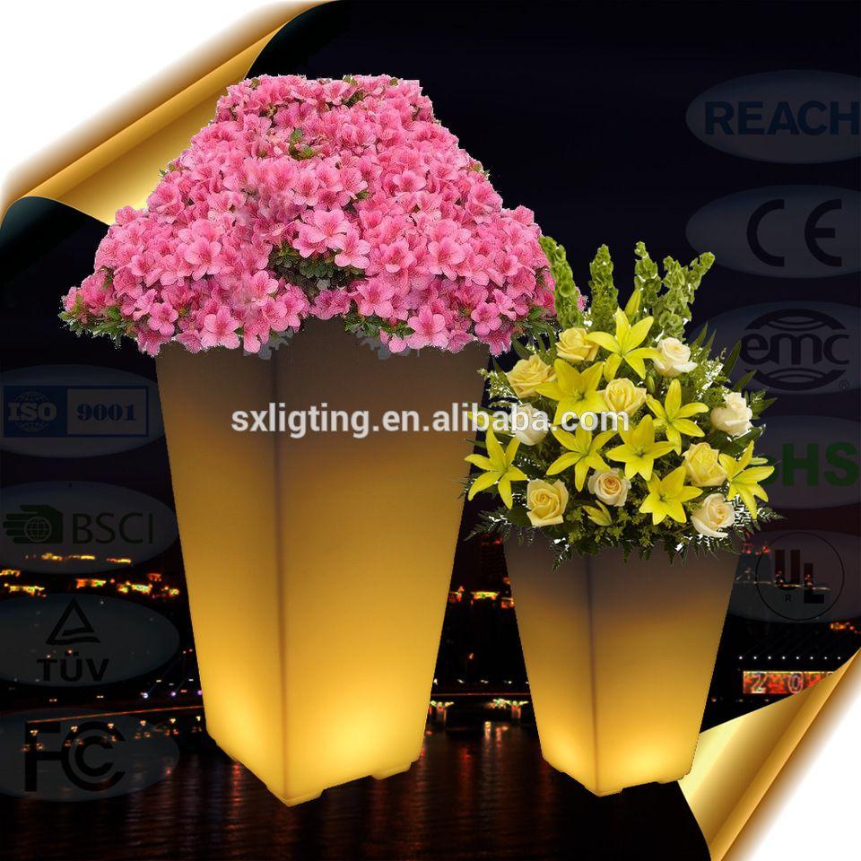 2018 New Design Led Flower Pot Garden Decorative Lighting Light Up Vase