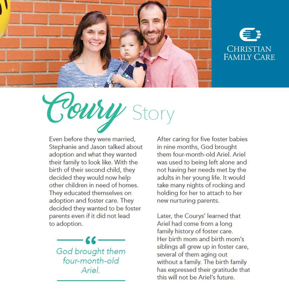 Read the Coury's adoption family story. For more