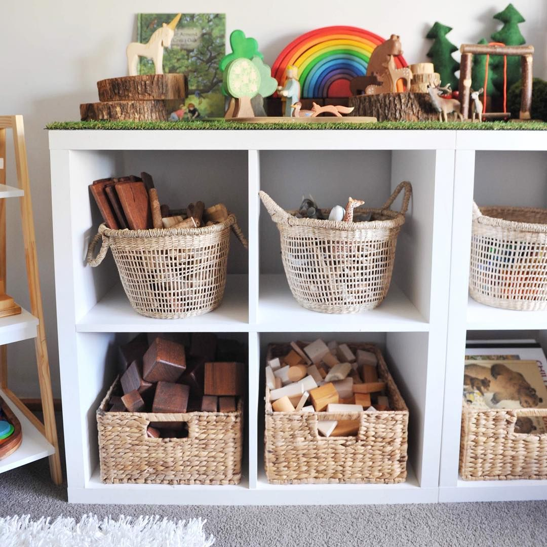 Storage Basket Love These Kmartaus Baskets Hold The Majority Of Our Blocks Books Animals And Felt Toys T Toy Storage Shelves Toy Storage Toy Storage Baskets