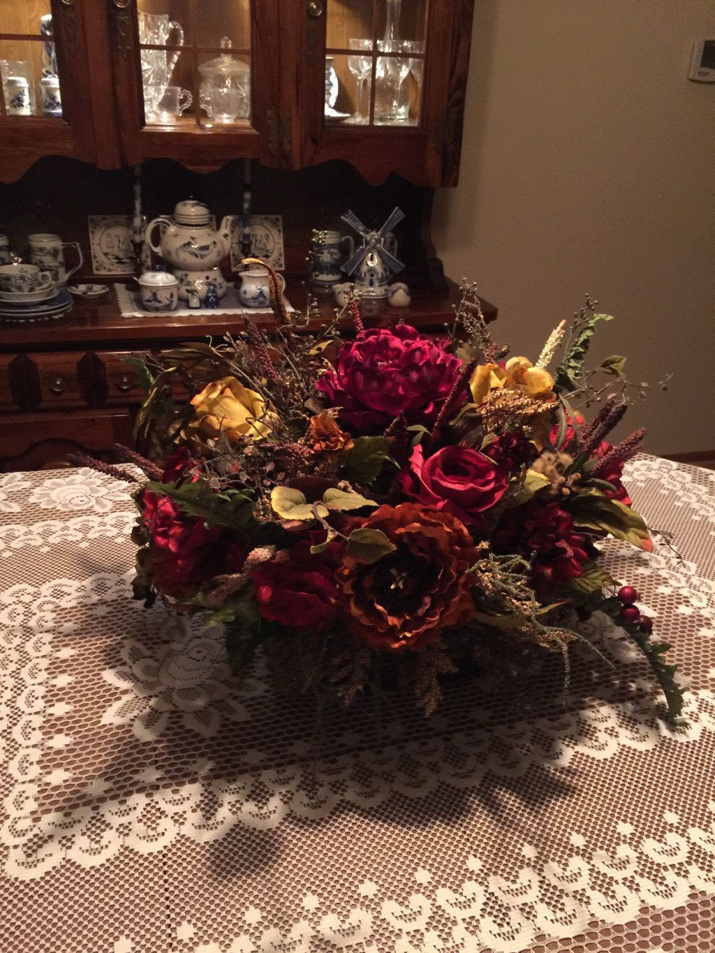 Floral Arrangement Large Tuscan Silk Basket SHIPPING INCLUDED Elegant Table Mantel Dining Room CenterpieceDining