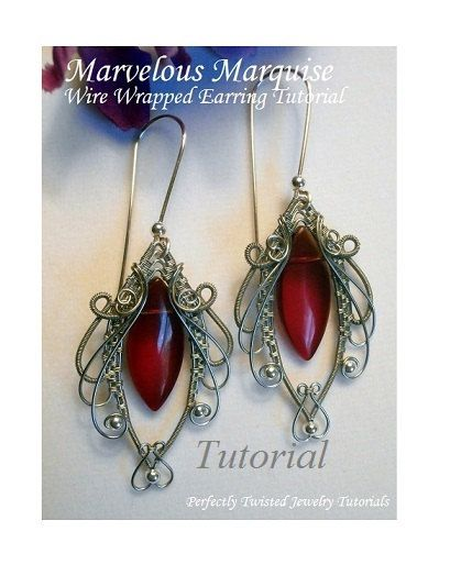 TUTORIAL Jewelry, Wire Wrapped Earrings, Marvelous Marquise ...