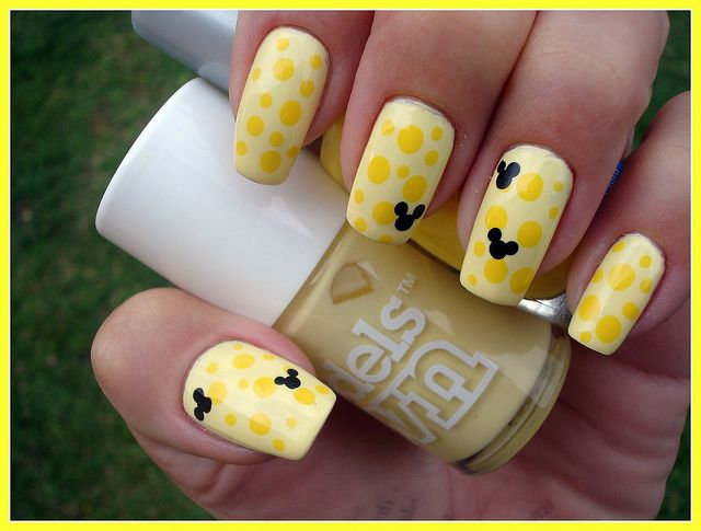 yellow on yellow with black Disney design | Nail art | Pinterest ...