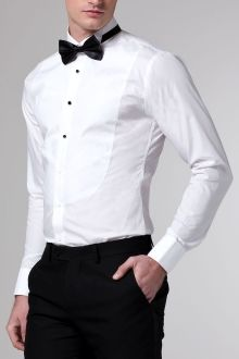 White round front tuxedo shirt modern gentleman and dapper for Tuxedo shirt without studs