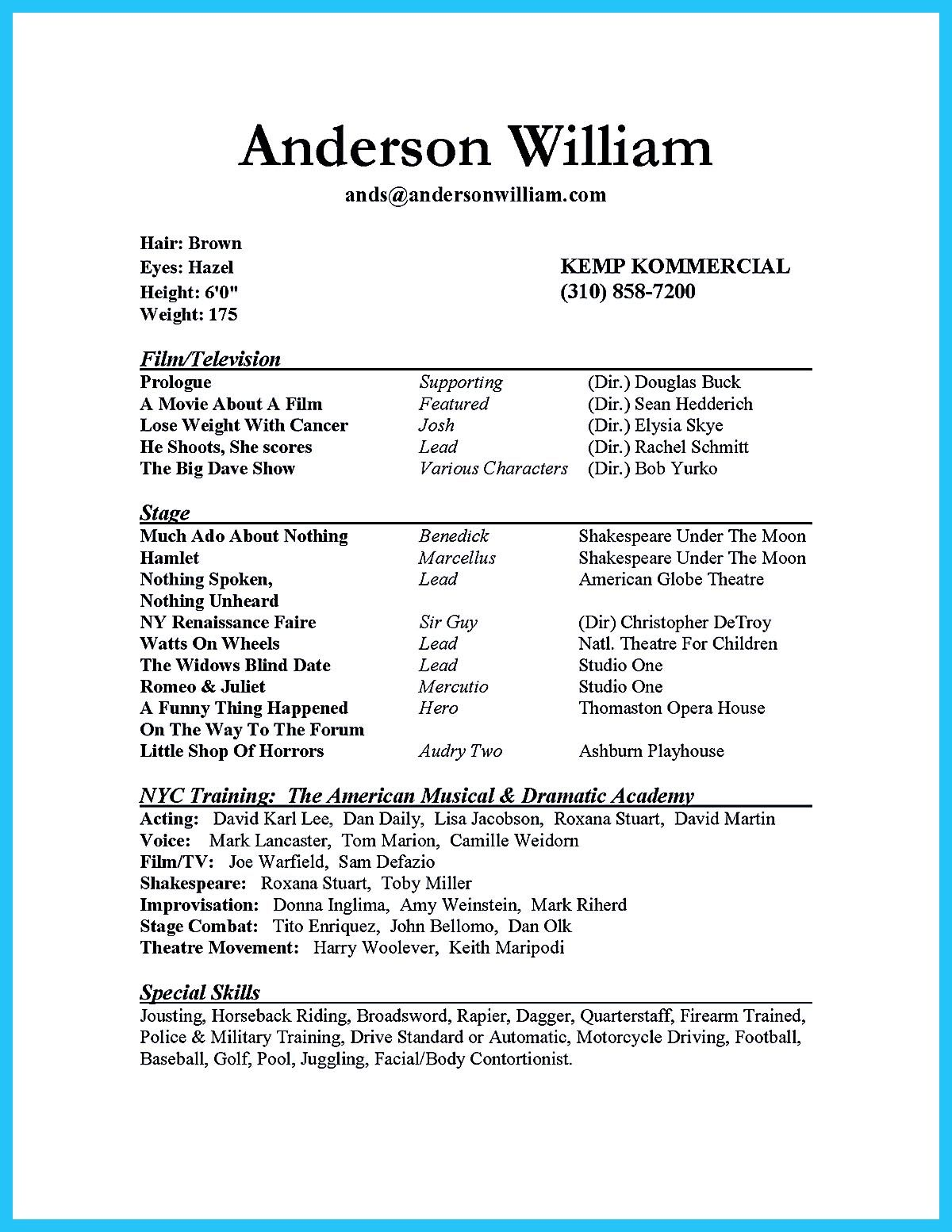 actor resume sample presents how you will make your professional or beginner actor resume  the