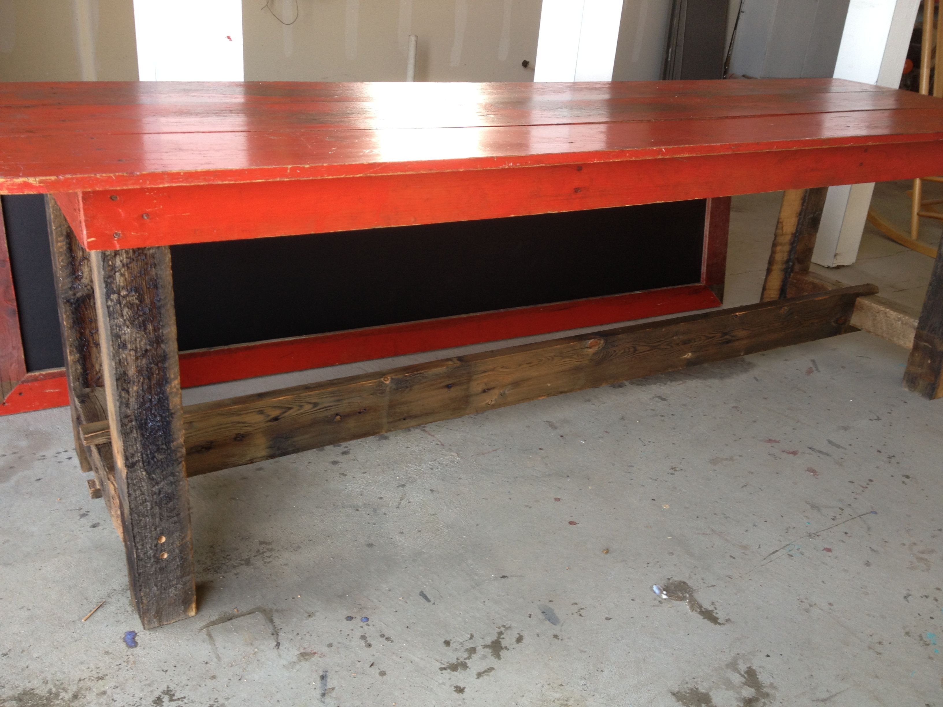 Red Reclaimed Barn Wood Table And Chalkboard Reclaimed Barn Wood