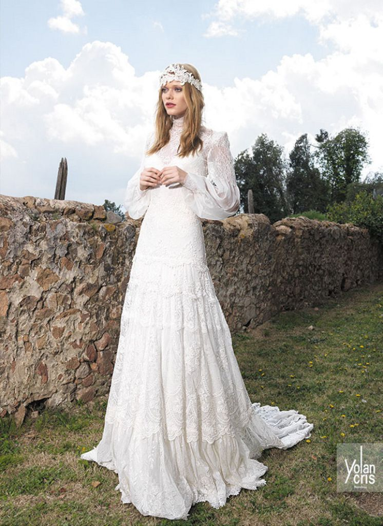 vestido de noiva classico hippie manga comprida ylancris boho chic 2015