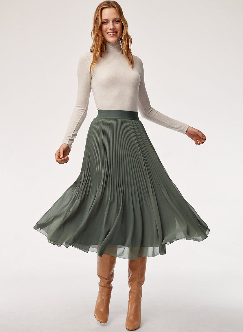 5b4c1662a This A-line skirt is made with an elegant chiffon that showcases the  delicate sunburst pleats. A soft, wide waistband is flattering and  comfortable.