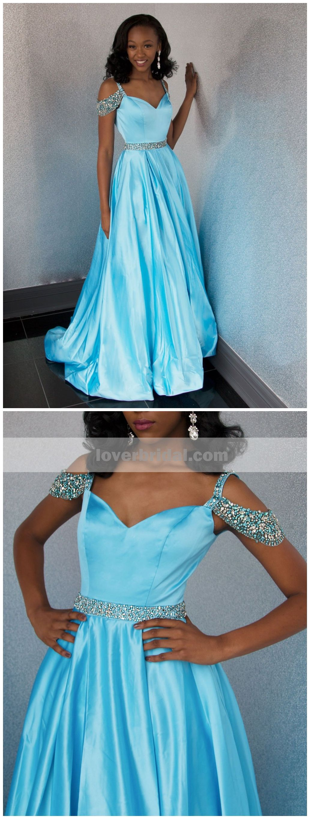 Off shoulder blue beaded aline cheap evening prom dresses sweet