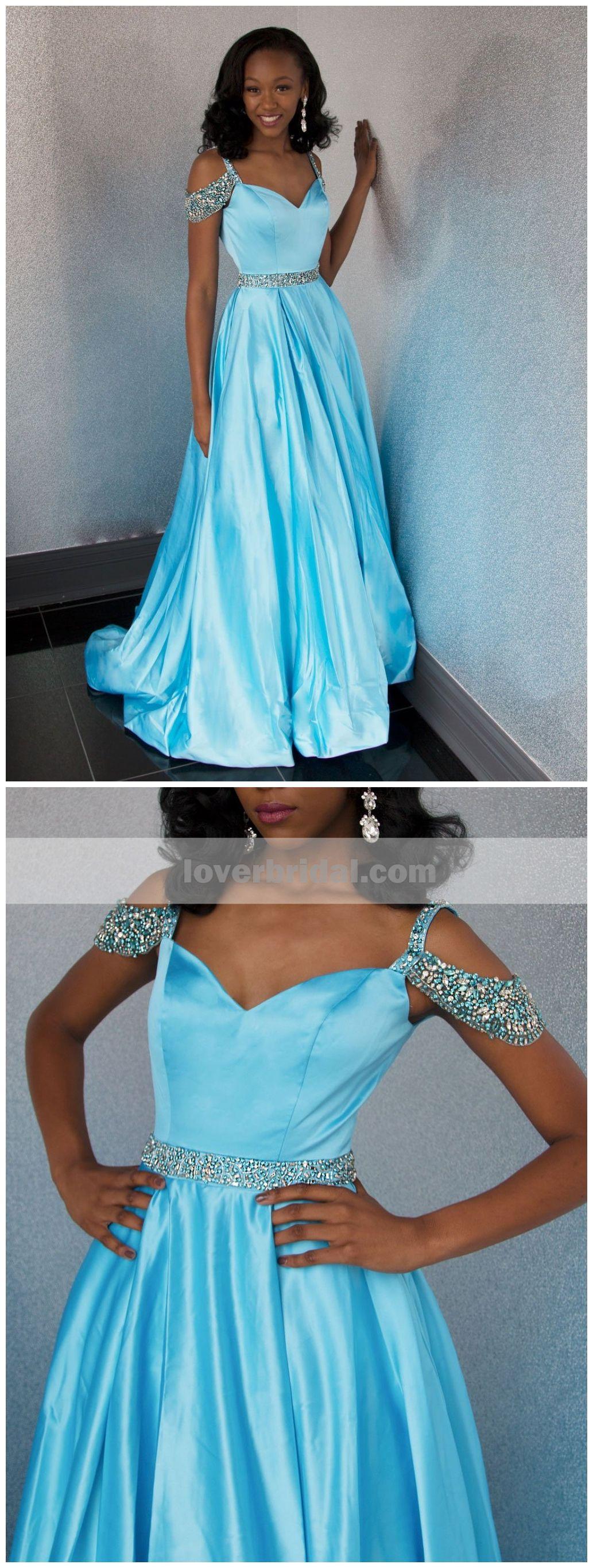 Off shoulder blue beaded aline cheap evening prom dresses sweet