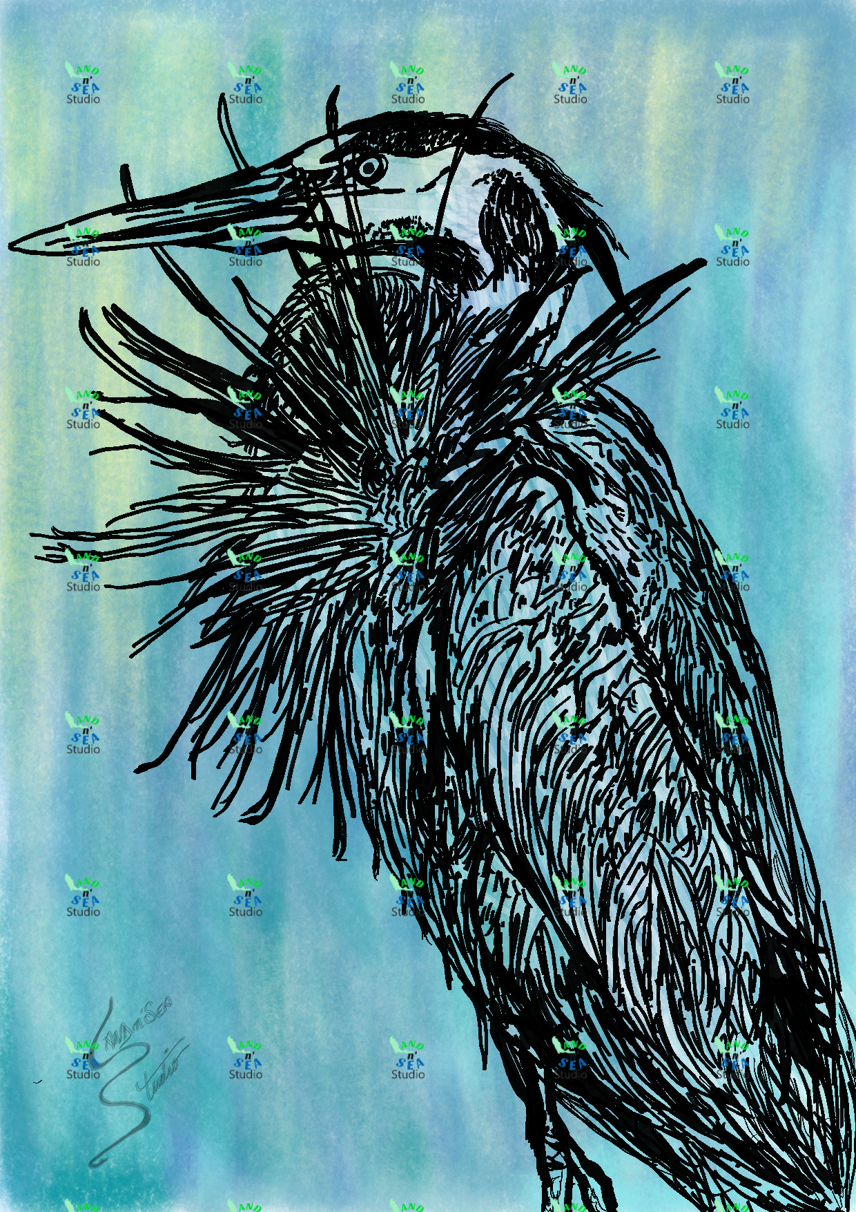 11x14 Print Face Mounted To Acrylic Of Original Watercolor And Ink Of Florida Great Blue Heron Found Around The Wat In 2020 11x14 Print Watercolor And Ink Beach Decor