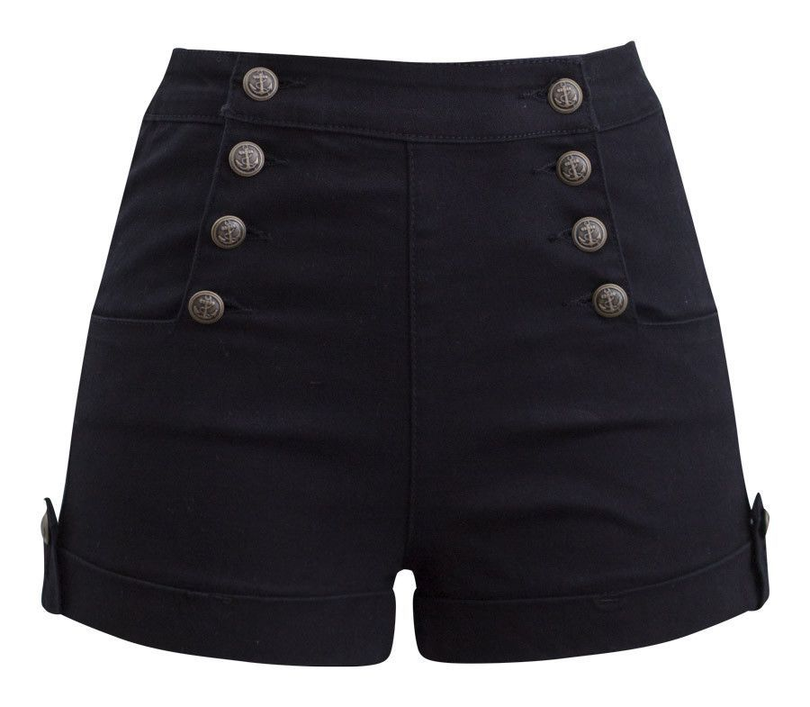 409994e726 High Waist Sailor Girl Denim Shorts in Black with Anchor Buttons ...