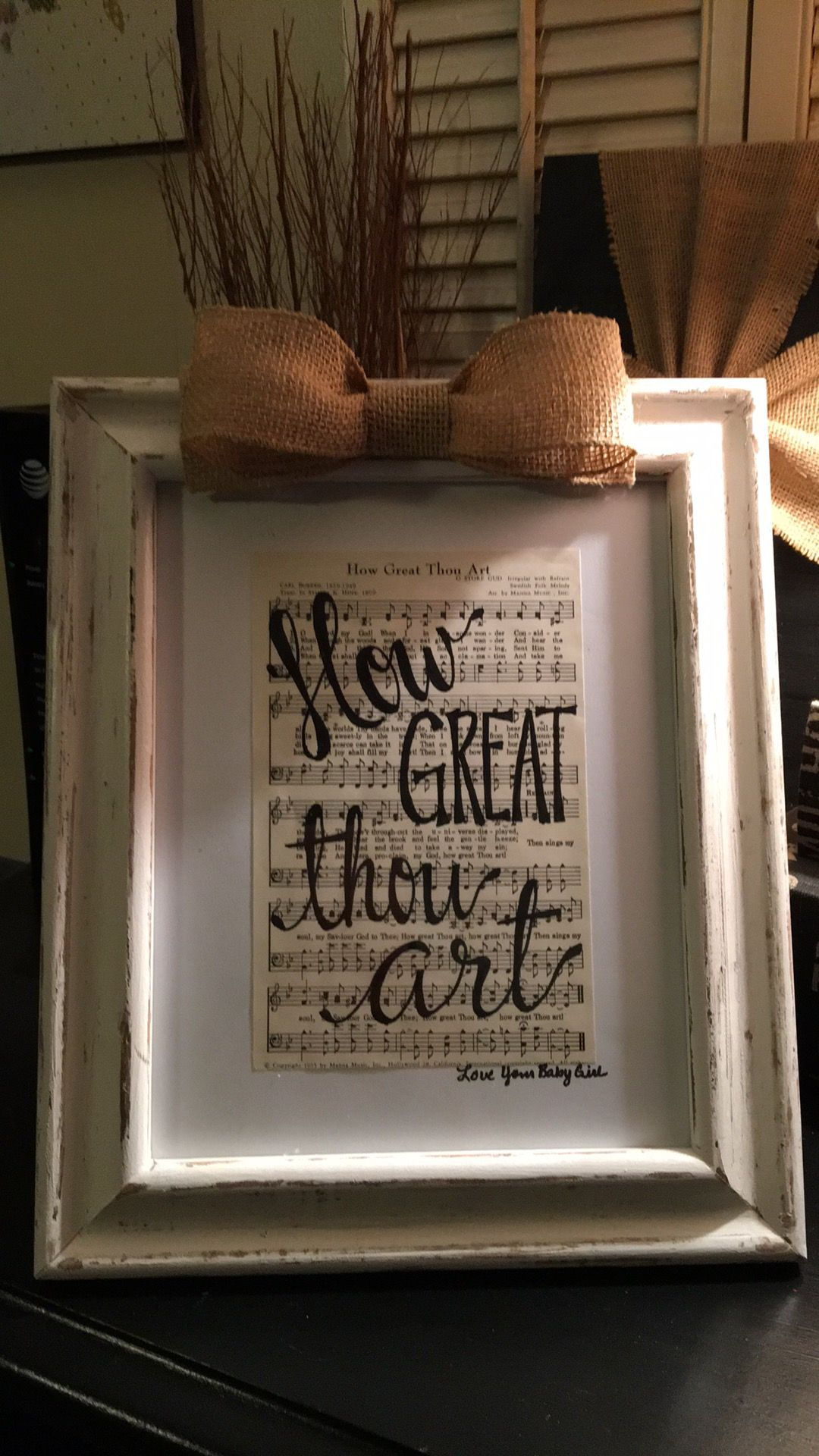 How Great Thou Art Hymnal Page Framed With Burlap Bow 20 Sheet Music Crafts Music Crafts Hymnal Crafts