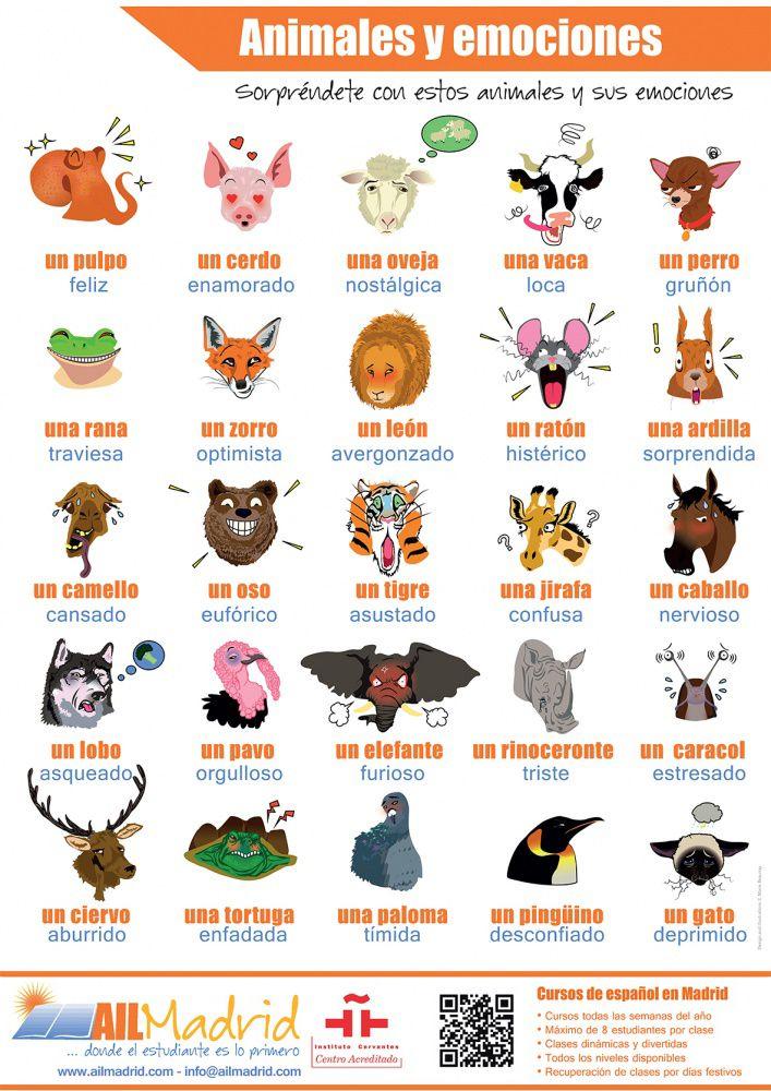 Póster 1: Animales y Emociones. Consigue estos preciosos pósteres ELE. Son muy coloridos, de tamaño A1 e impresos en papel de alta calidad. Envíanos un correo a joanna@cursosdeespanol-ail-madrid.com con tu nombre y la dirección de tu escuela. Mandamos los pósteres a todos los países no hispanohablantes.