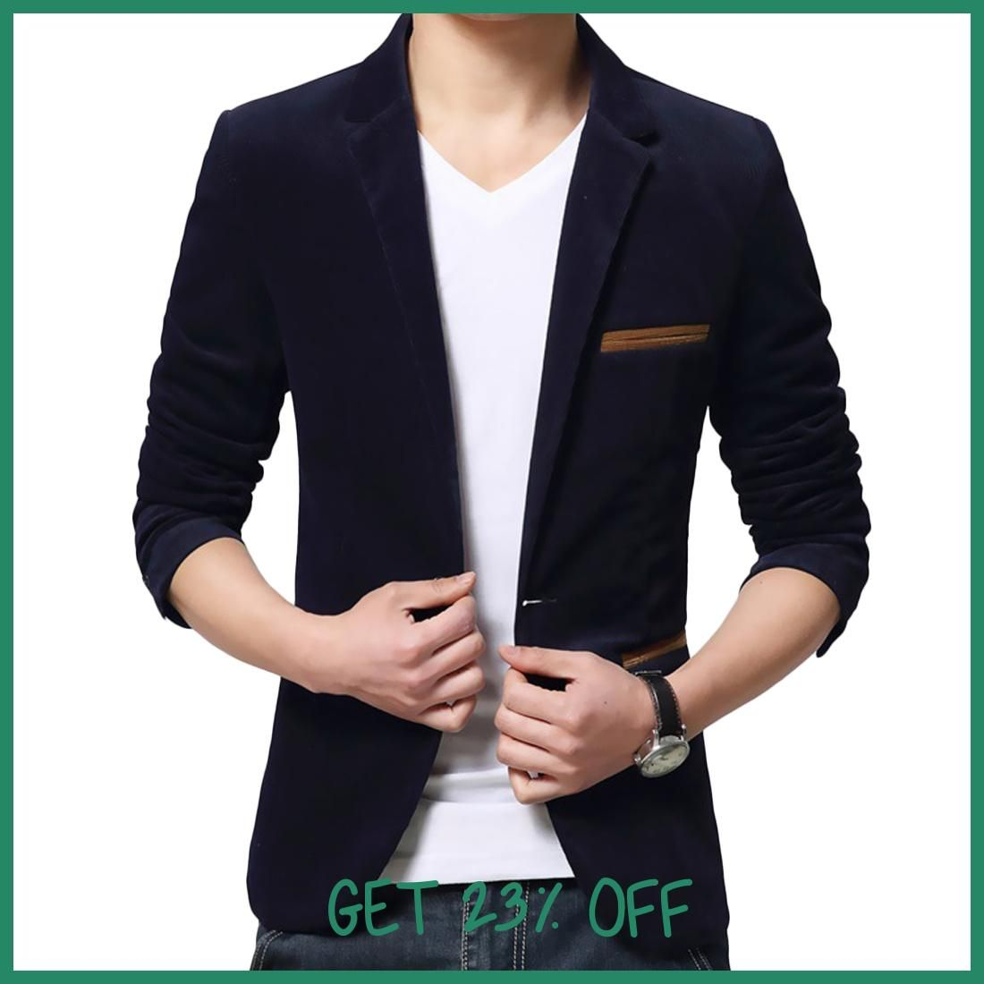 One On Fitness Corduroy Jackets Men Long Sleeve Office Work Slim Brand Blazers Mens Fashion Plus