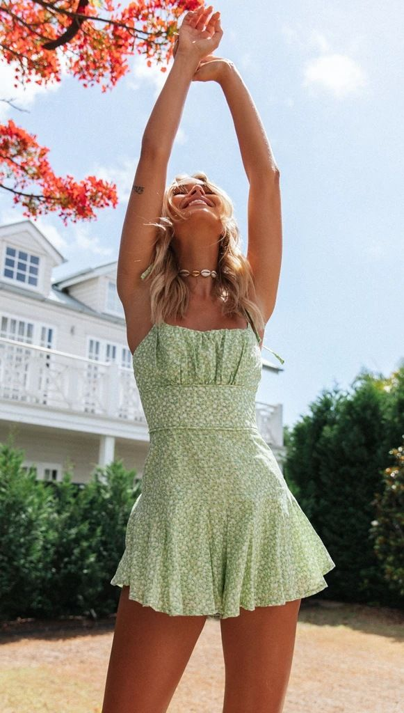 Cute Green Dress spaghetti straps short green flor