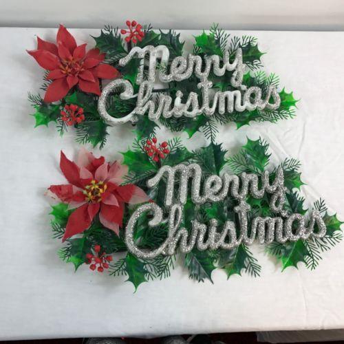 2 Vintage Merry Christmas Holiday Wall Decor Plastic Poinsettia Greens Glitter Merry Christmas Sign Holiday Wall Decor Christmas Signs