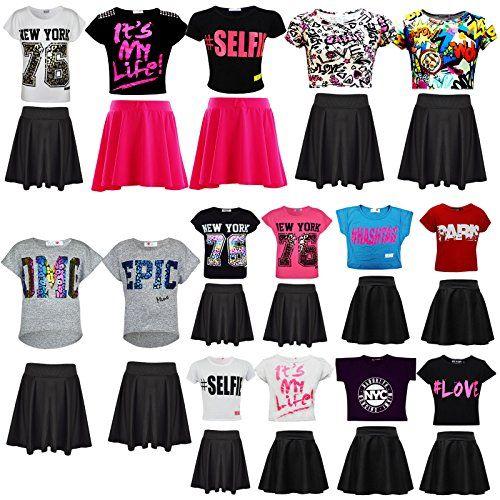 Crop Top /& Fashion Skater Skirt Set 7-13 Years New Kids Girls Its My Life
