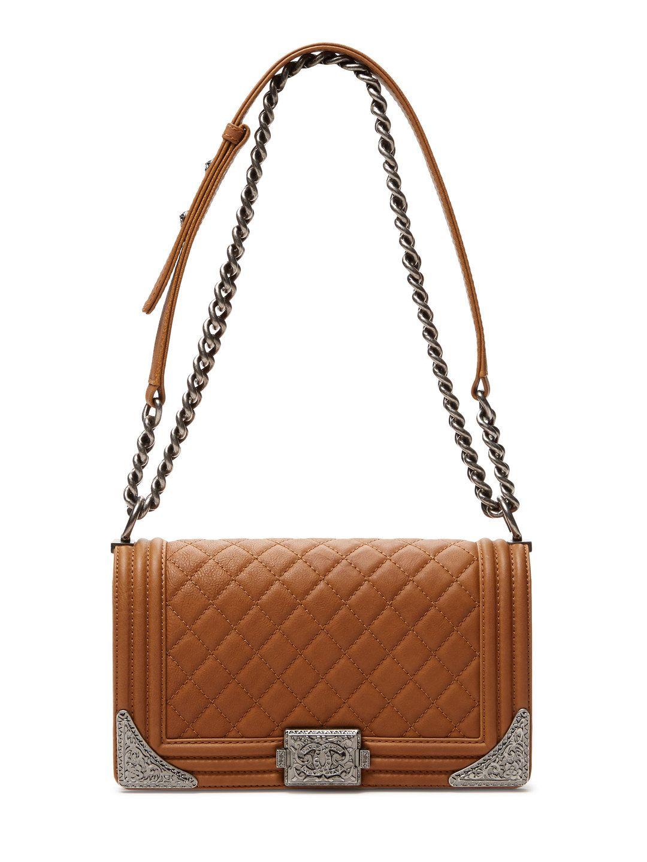 Light Brown Calfskin Medium Dallas Boy Bag By Chanel At Gilt Vintage Chanel Handbags Clothes For Women Vintage Chanel