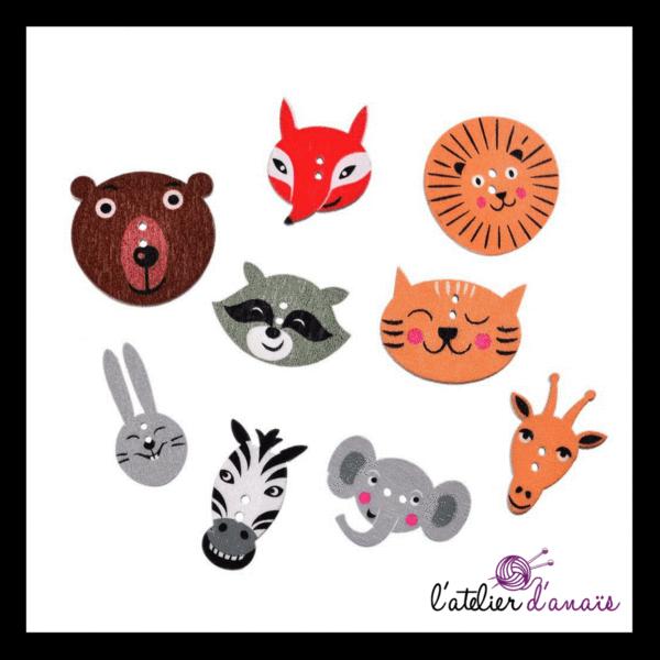 50pcs boutons de chat de bande dessinée décoratifs en bois 2 trous pour