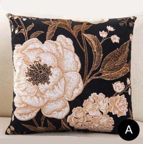 Black And White Flower Pillow For Living Room Plant Leaves Cushions
