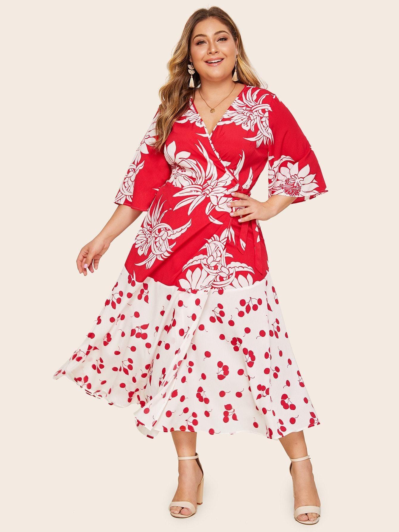 Plus Surplice Neck Floral Print Knot Dress Dresses, Mesh