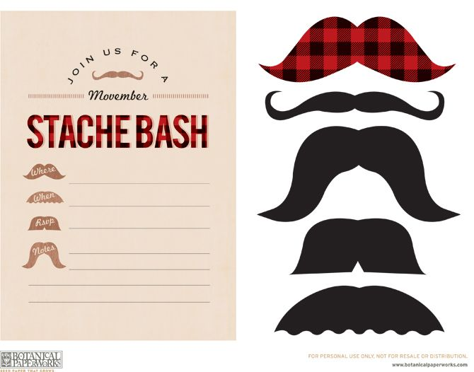 free printable movember party invites and mustaches - Mustache Party Invitations