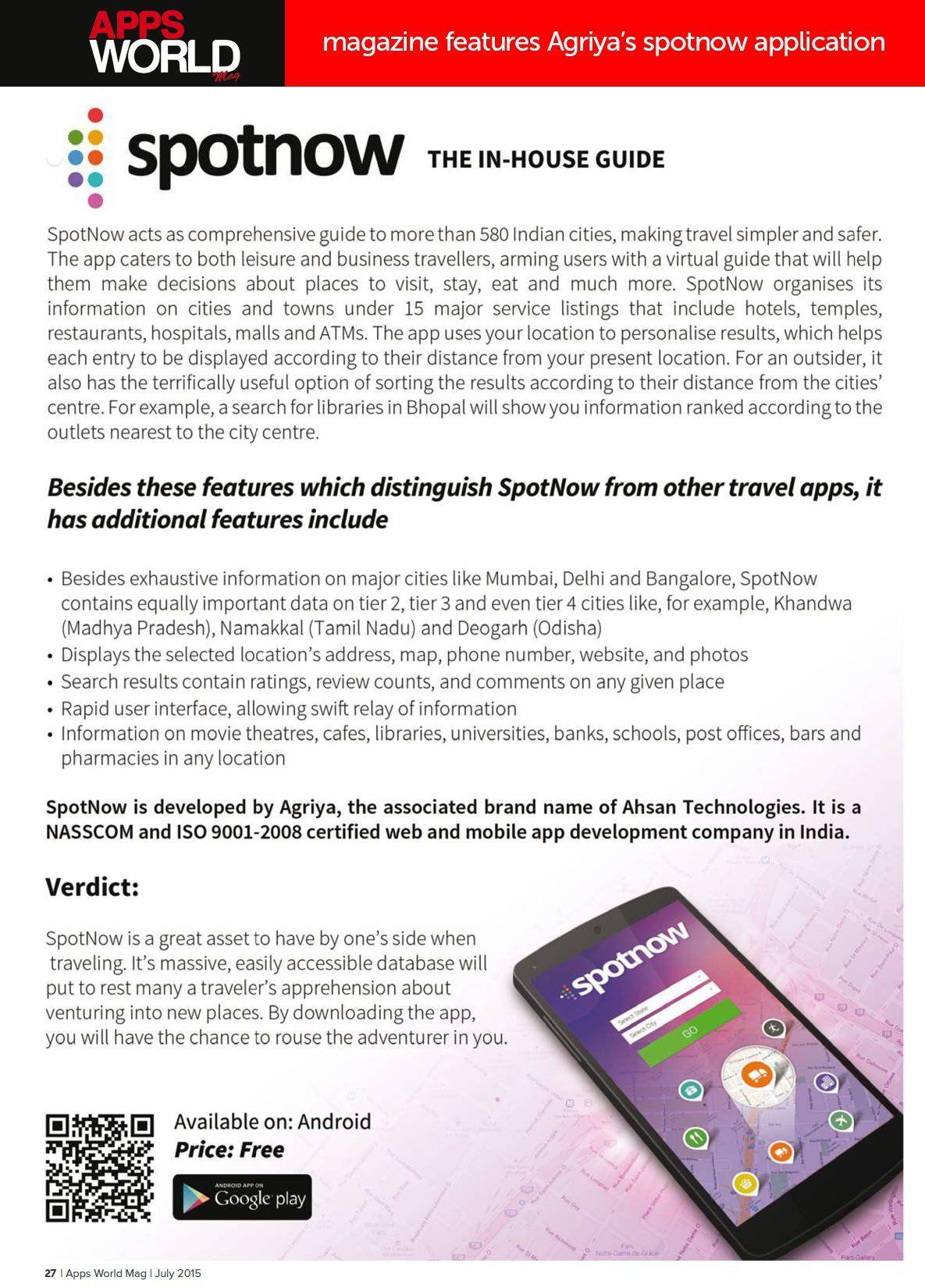 Apps World Magazine features Agriya's spotnow application