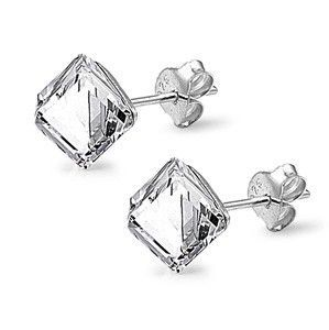 Sterling Silver CZ Simulated Crystal Cube Stud 6MM Clear