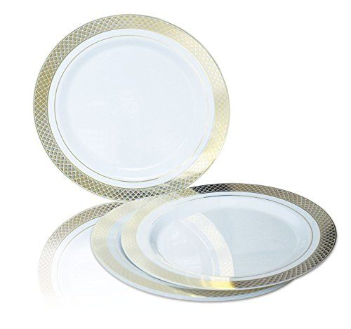 Occasions Wedding Plastic Plates Disposable Dinnerware With Silverware For 25 Guests Piece Set White Silver Rim