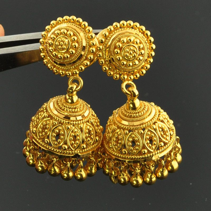 fine gold yellow earrings vintage jewelry multipearl indian