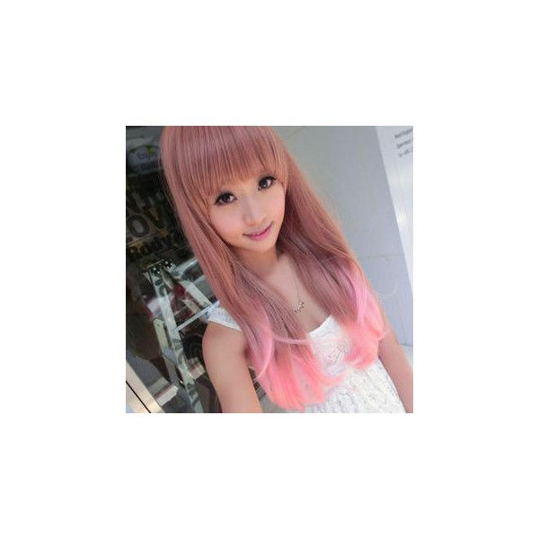 Long Full Wig - Straight Pink Mix (€36) ❤ liked on Polyvore featuring beauty products, haircare, hair styling tools, accessories, wig and clair beauty