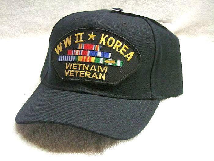 357ab999255 Vintage W W II Korea Vietnam Veteran Low Profile Ball Cap Never Worn ...