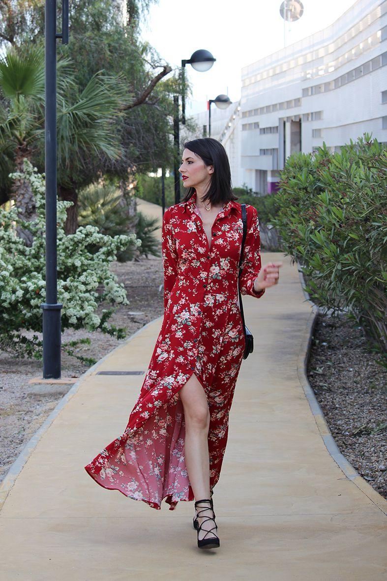 59167d4db Maxi vestido camisero de flores | My Style en 2019 | Vestidos ...