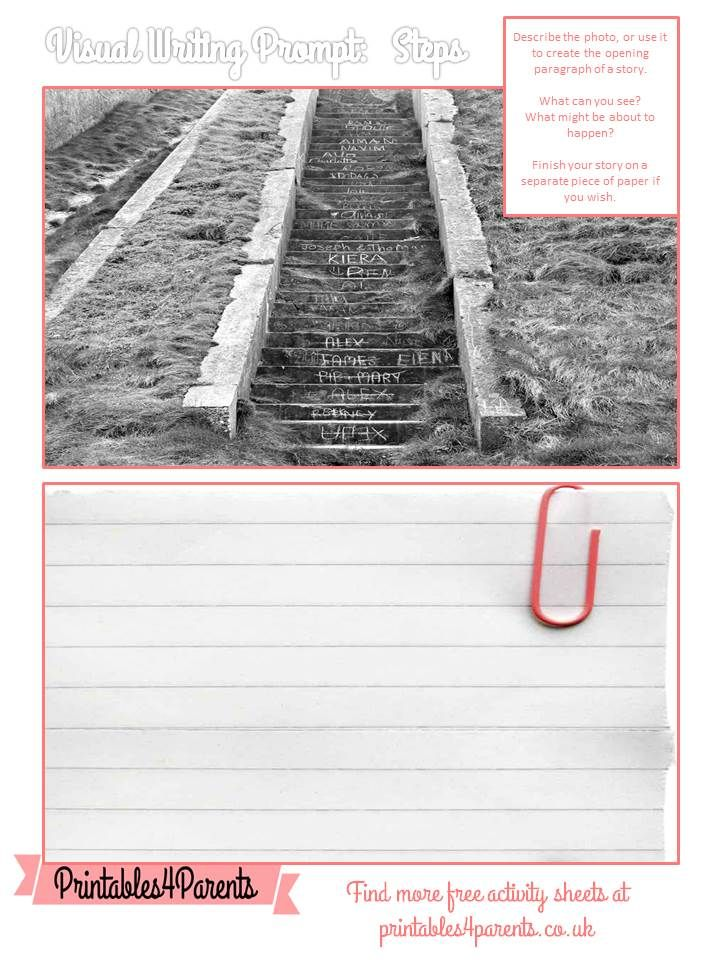 Here's a free printable Steps writing prompt sheet for your children, featuring original Printables4Parents photography.