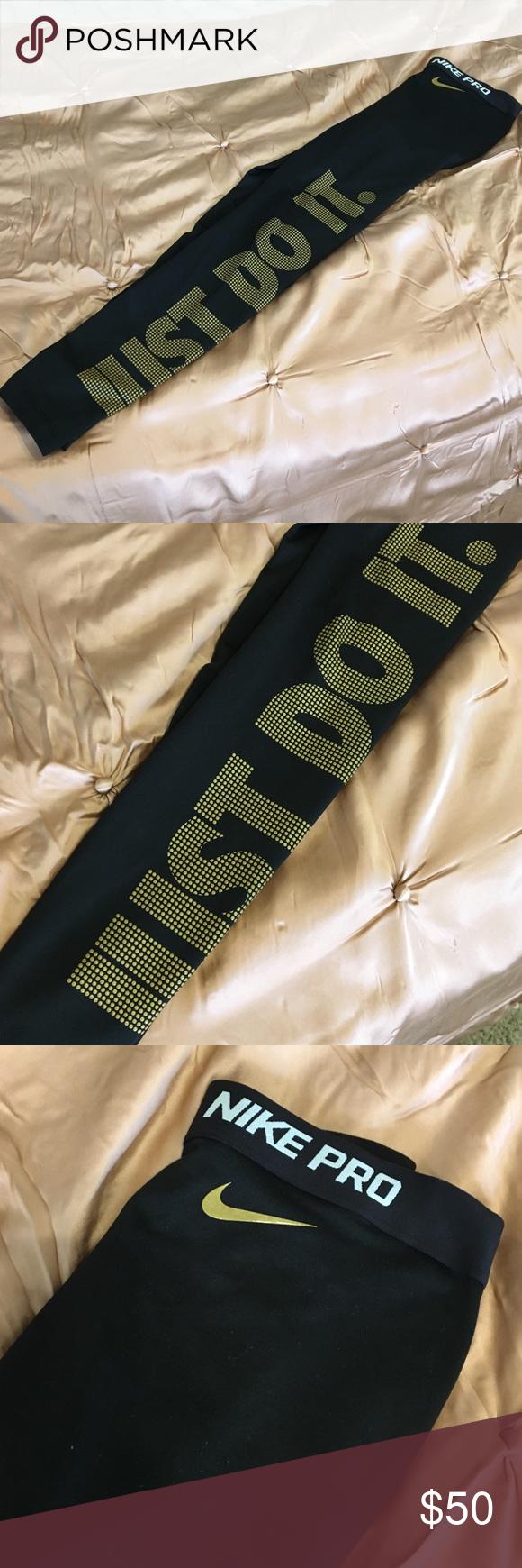 83ffc1e6a7abe Nike Pro Just Do It Pant Black and gold leggings Nike Pants Leggings ...
