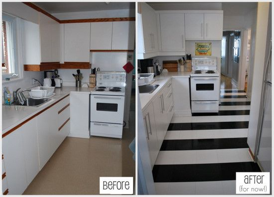 How to lay vinyl black and white flooring in stripes for Flooring before cabinets