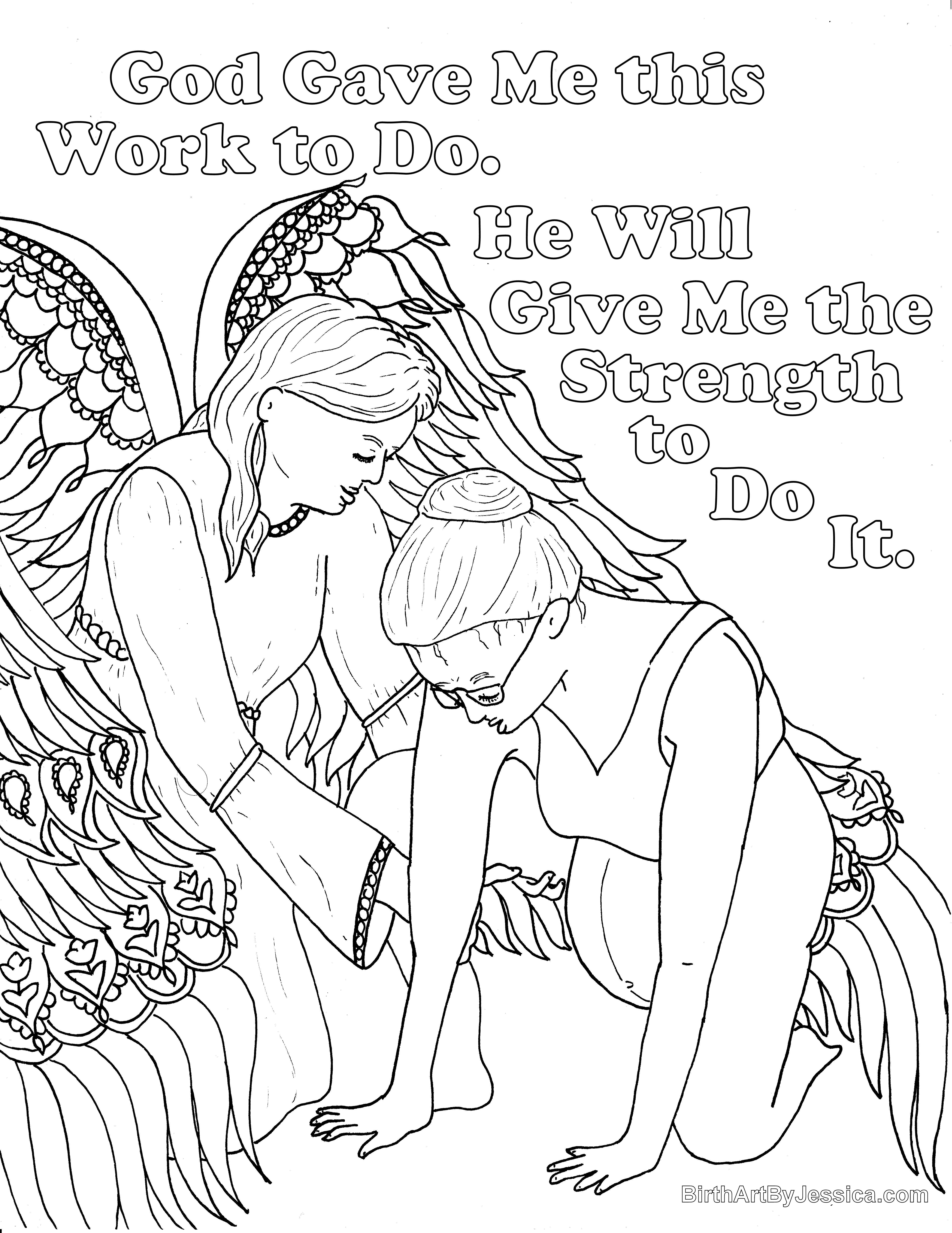 Birth Affirmation Coloring Page Free Printable God Will Give Me Strength Mandalas
