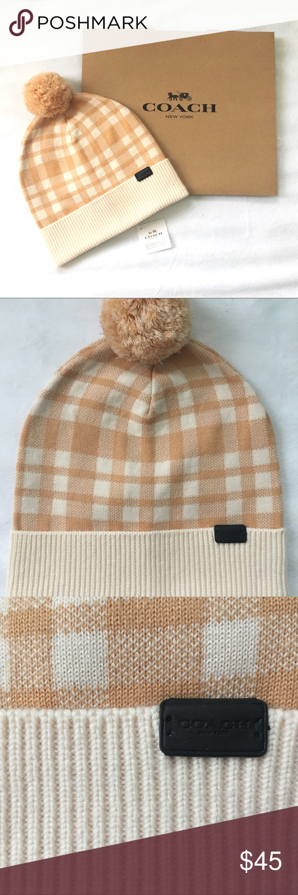 411ef73089a Coach Plaid Pom Hat Beanie Brand new with tag Style  F30156 Color  Caramel  Adorable plaid hat with Pom Brand new. Comes with original Coach box and  tissue ...