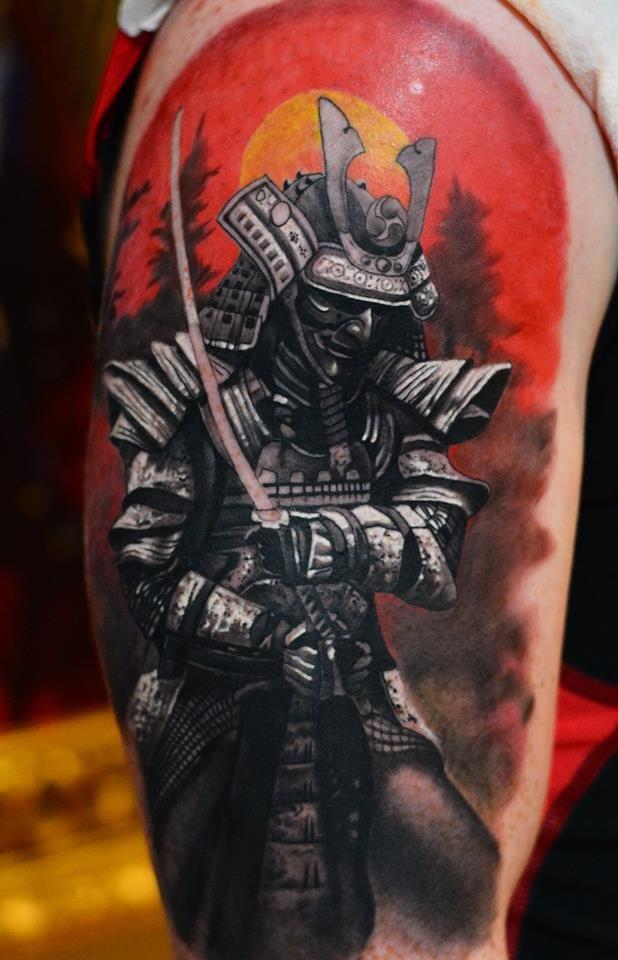 Samurai Japanese Sleeve Warrior Color Dublin Ireland Tattoos